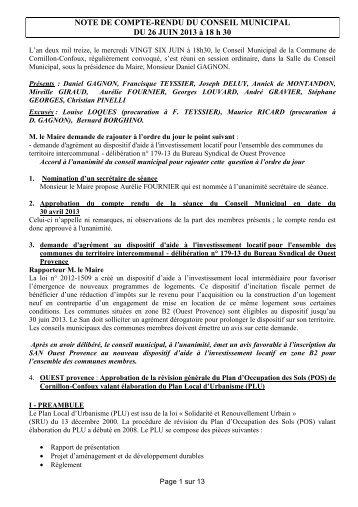NOTE DE COMPTE-RENDU DU CONSEIL MUNICIPAL DU 26 JUIN ...