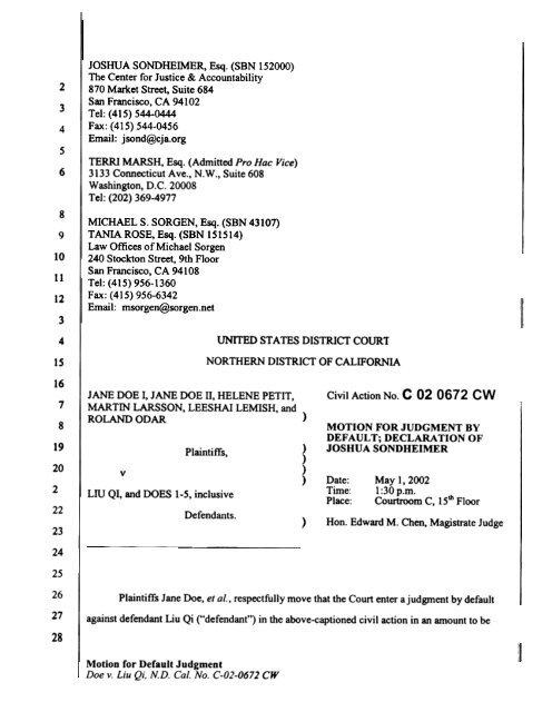 Motion for Default Judgment and Declaration of Joshua Sondheimer