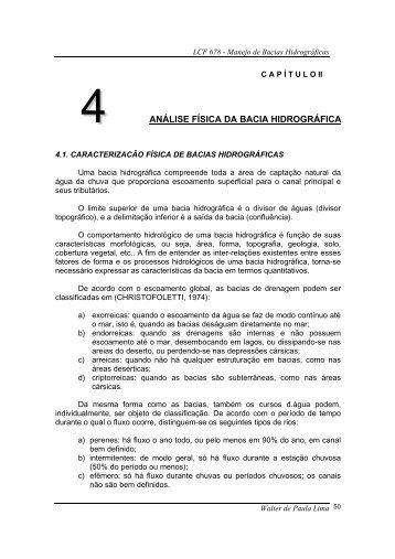 4 ANÁLISE FÍSICA DA BACIA HIDROGRÁFICA - LEB/ESALQ/USP