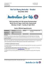Senior Officials Appointments - Surf Life Saving Australia