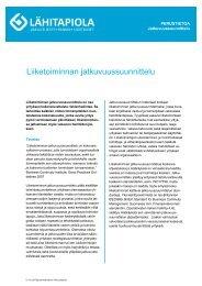 Liiketoiminnan jatkuvuussuunnittelu - Tapiola