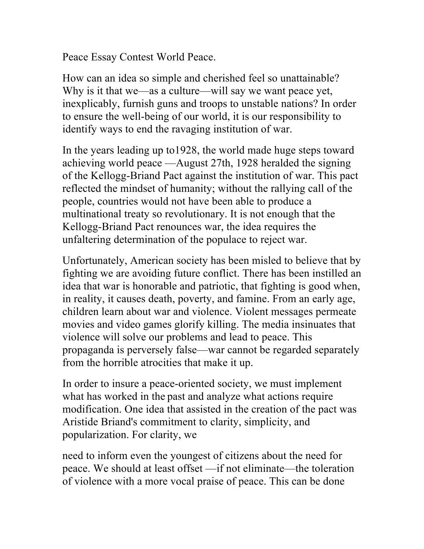 essay media world peace
