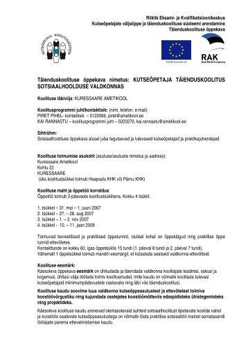 Sotsiaalhoolduse õppekava - Riiklik Eksami ja Kvalifikatsioonikeskus