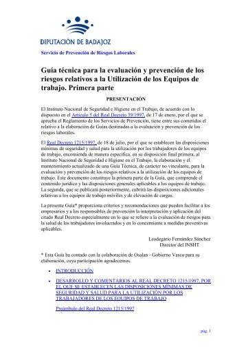 Guía técnica para la evaluación y prevención de los riesgos ...