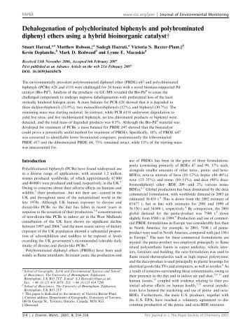 Dehalogenation of polychlorinated biphenyls and polybrominated ...