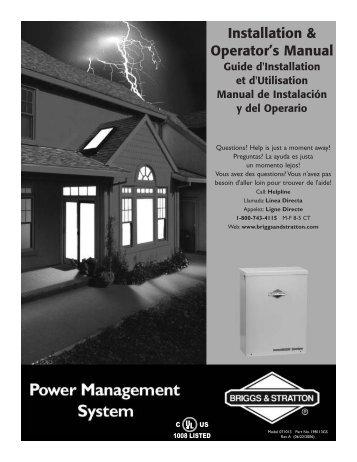 Installation & Operator's Manual - NoOutage.com, LLC
