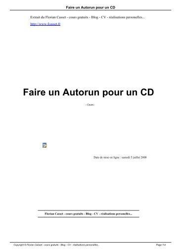 Faire un Autorun pour un CD - Florian Casset - cours gratuits - Blog