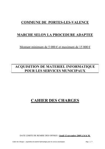 Cahier des Charges 2009 - Portes-lès-Valence