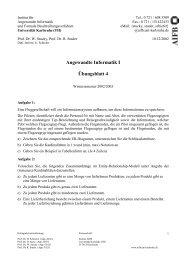 Angewandte Informatik I Übungsblatt 4