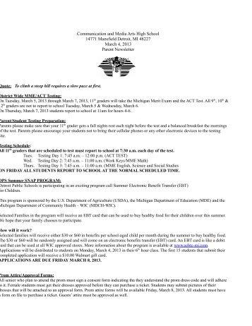 March 4th 2013 newsletter - CMA High School