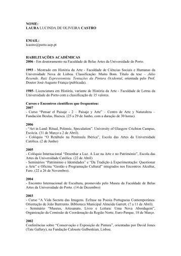 Laura Castro - Escola das Artes - Universidade Católica Portuguesa
