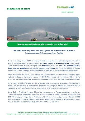 Un an de transavia.com en Tunisie 21.07.08