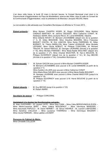 Consulter le Procès-verbal du 25 mars 2013 - Montbéliard