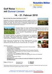 Golf Reise Mallorca mit Gunnar Levsen 14. - 21. Februar 2010