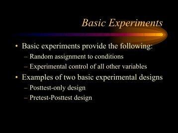 Basic Experiments - Psychology and Child Development
