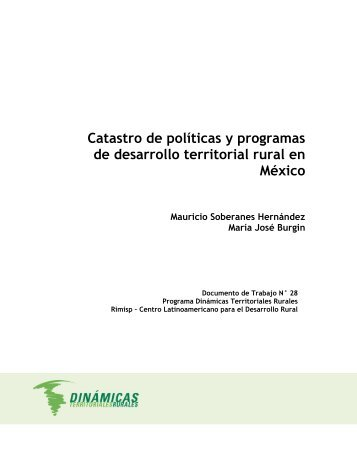 Catastro de políticas y programas de desarrollo territorial ... - Rimisp
