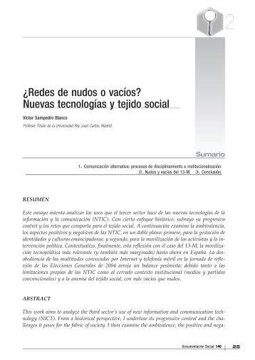 03 ¿Redes de nudo o vacíos? Nuevas tecnologías y tejido social