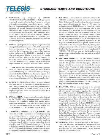 STANDARD TERMS AND CONDITIONS - Telesis Technologies, Inc.