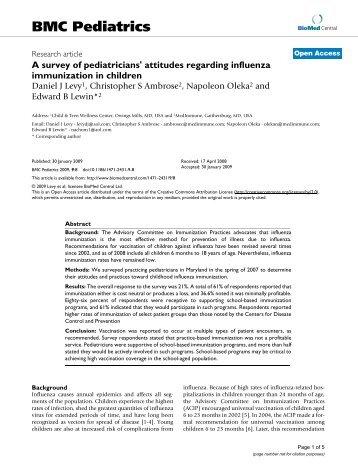 A survey of pediatricians' attitudes regarding influenza immunization ...