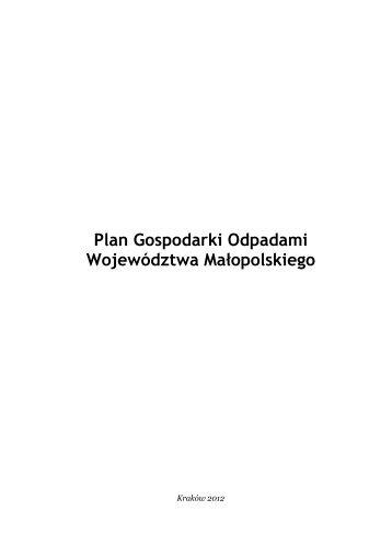 Projekt Planu Gospodarki Odpadami Województwa Małopolskiego