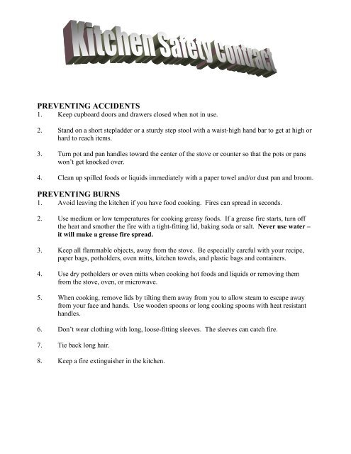 Kitchen Safety Contract
