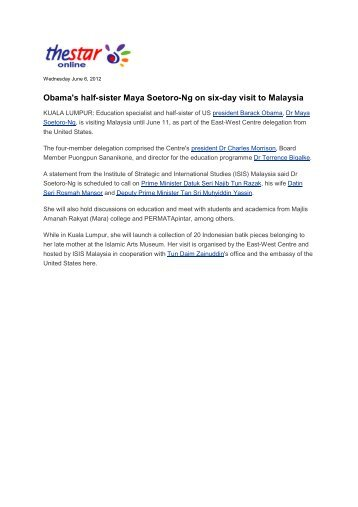Obama's half-sister Maya Soetoro-Ng on six-day visit ... - ISIS Malaysia