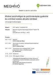 MEGHÍVÓ - DE Pszichológiai Intézet - Debreceni Egyetem