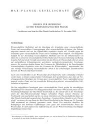 Regeln zur Sicherung guter Wissenschaftlicher Praxis - Max-Planck ...