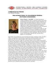 communiqué de presse prix international du gouverneur général en ...
