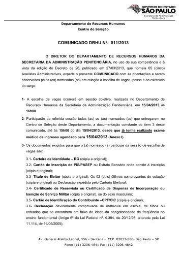 Analistas Administrativos - Secretaria da Administração Penitenciaria