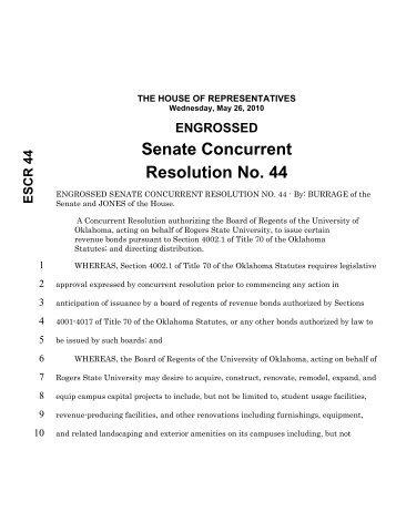 Senate Concurrent Resolution No. 44 - Oklahoma Legislature