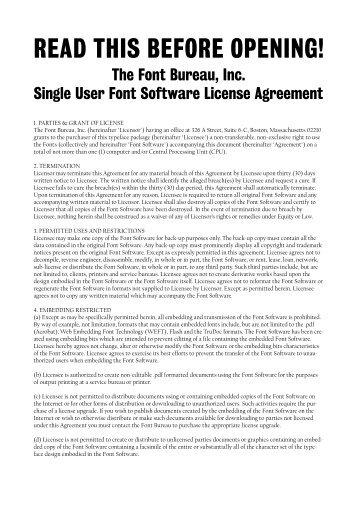 Font Bureau License