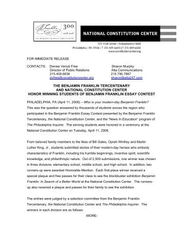 the benjamin franklin tercentenary and national constitution
