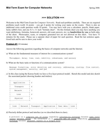 Mid-Term Exam for Computer Networks >>> SOLUTION