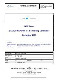 IASFRome_StatusReport - INAF-IASF-Roma