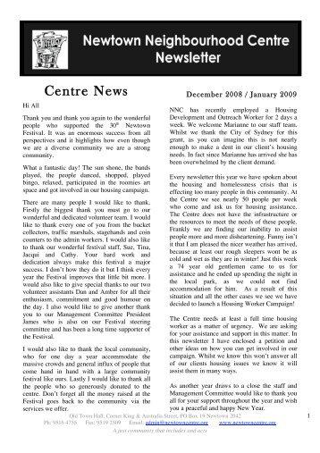 December 2008 - January 2009 Newsletter - Newtown ...