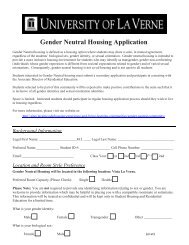 Gender Neutral Housing Application - Sites at La Verne