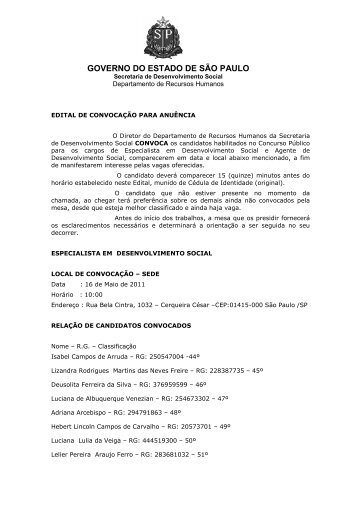16, 17 e 18/05/2011 - Secretaria de Desenvolvimento Social ...