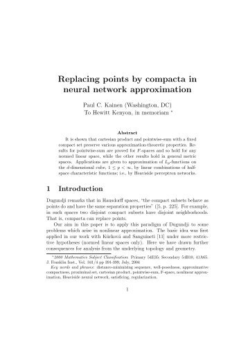 Replacing points by compacta in neural network approximation