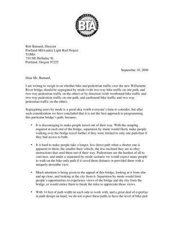 Bicycle Transportation Alliance Letter–September 10, 2009 - TriMet
