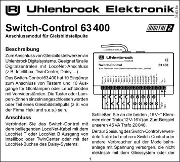 Switch-Control 63 400 - Uhlenbrock