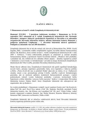 TLAČOVÁ SPRÁVA V Humennom sa konal 9. ročník Zemplínskych ...