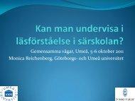 Går det att undervisa i läsförståelse i särskolan ... - Umeå universitet