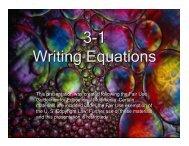 3-1 Writing Equations 3-1 Writing Equations - Mona Shores Blogs