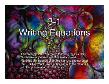 3-1 Writing Equations 3-1 Writing Equations - Mona Shores Blogs