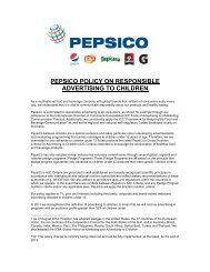 PepsiCo Policy on Responsible Advertising to Children