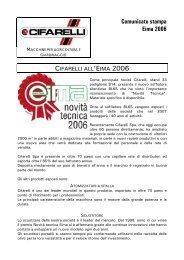 Comunicato stampa Eima 2006 - Cifarelli SpA
