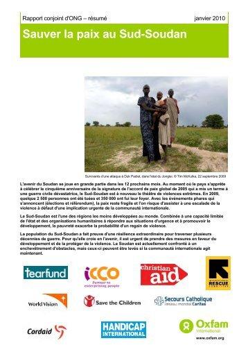 Resumé sauver la paix au sud soudan - Handicap International