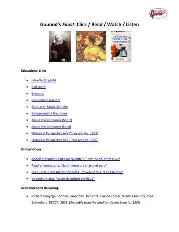 Gounod's Faust: Click / Read / Watch / Listen - Madison Opera