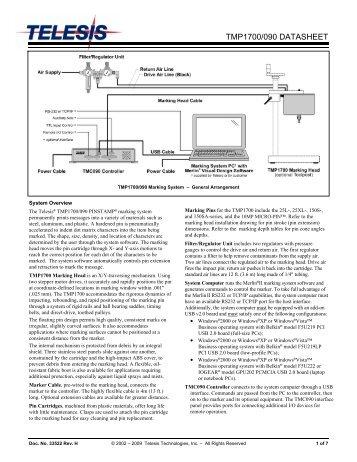 TMP1700/090 DATASHEET - Telesis Technologies, Inc.